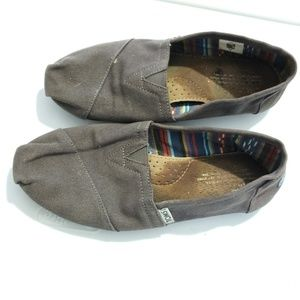 TOMS grey canvas slip on shoes size 8